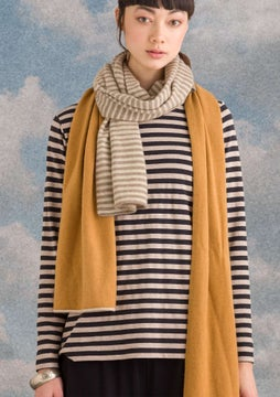 Striped top natural grey melange/black
