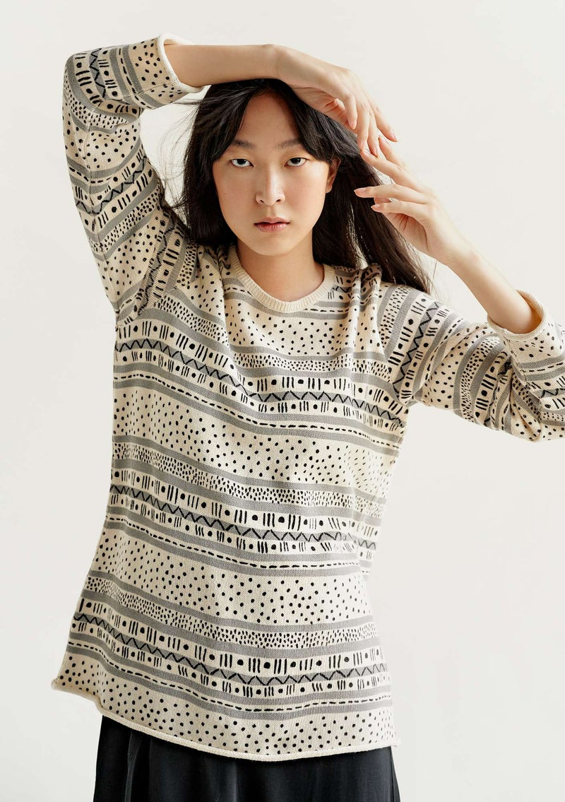 "FAVOURITE sweater ""Rita"" in recycled cotton black/patterned"