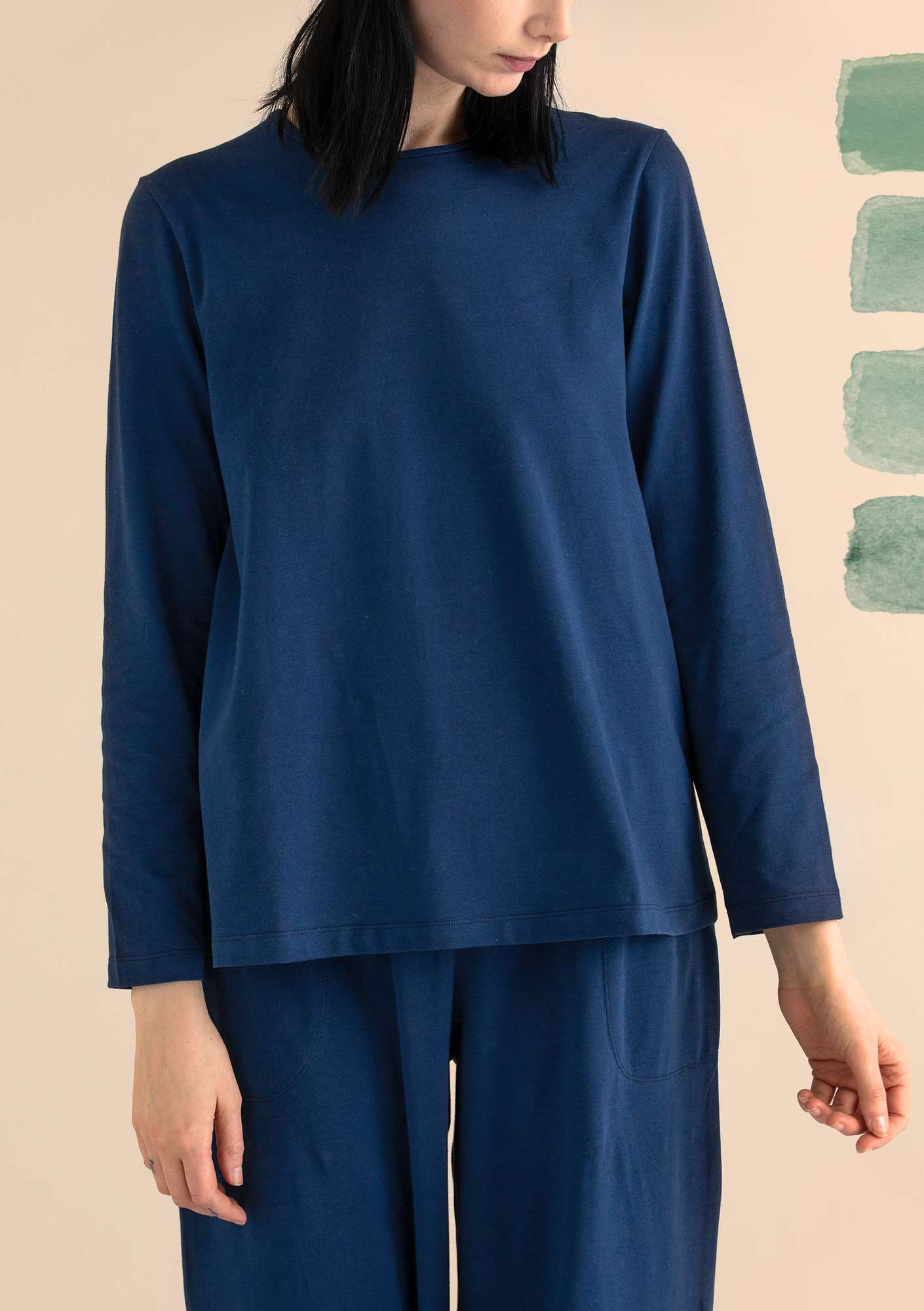 Top in organic cotton/spandex midnight blue