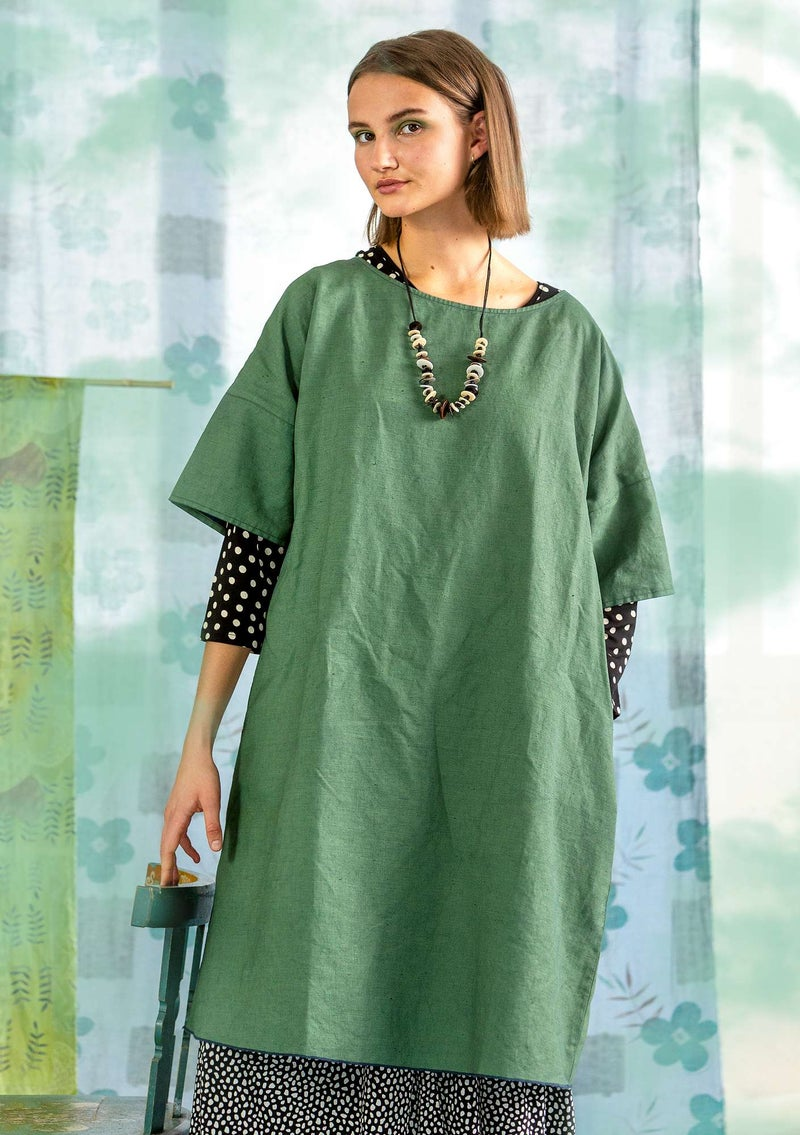 """Twin"" dress in woven linen/organic cotton sea green"