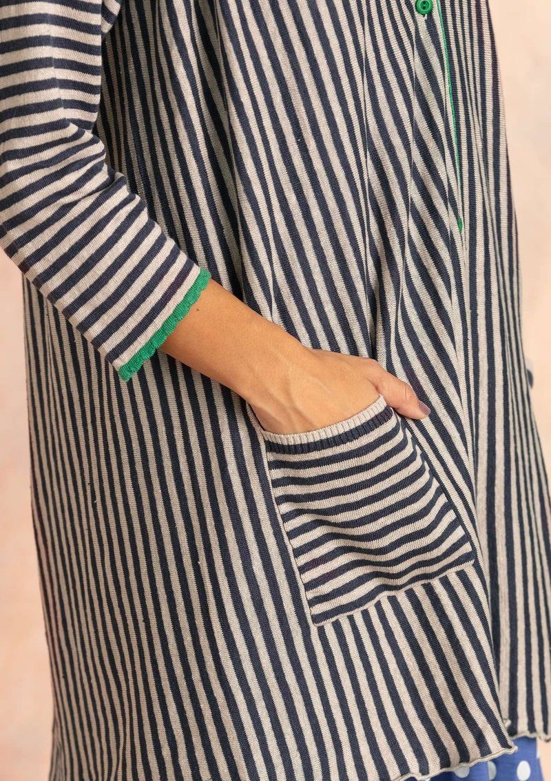 Stripe-knit smock blouse crafted from organic linen ink blue