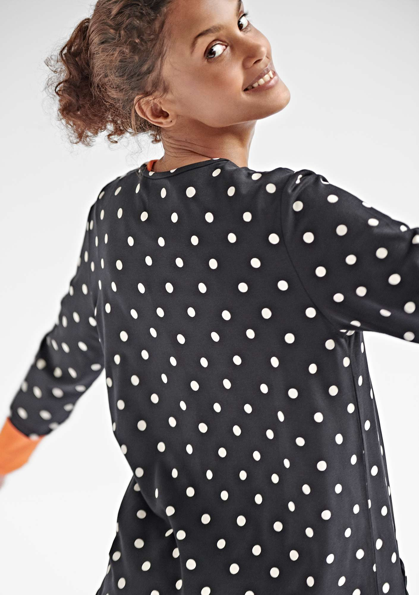 DOT dress in modal/eco-cotton/spandex black/patterned