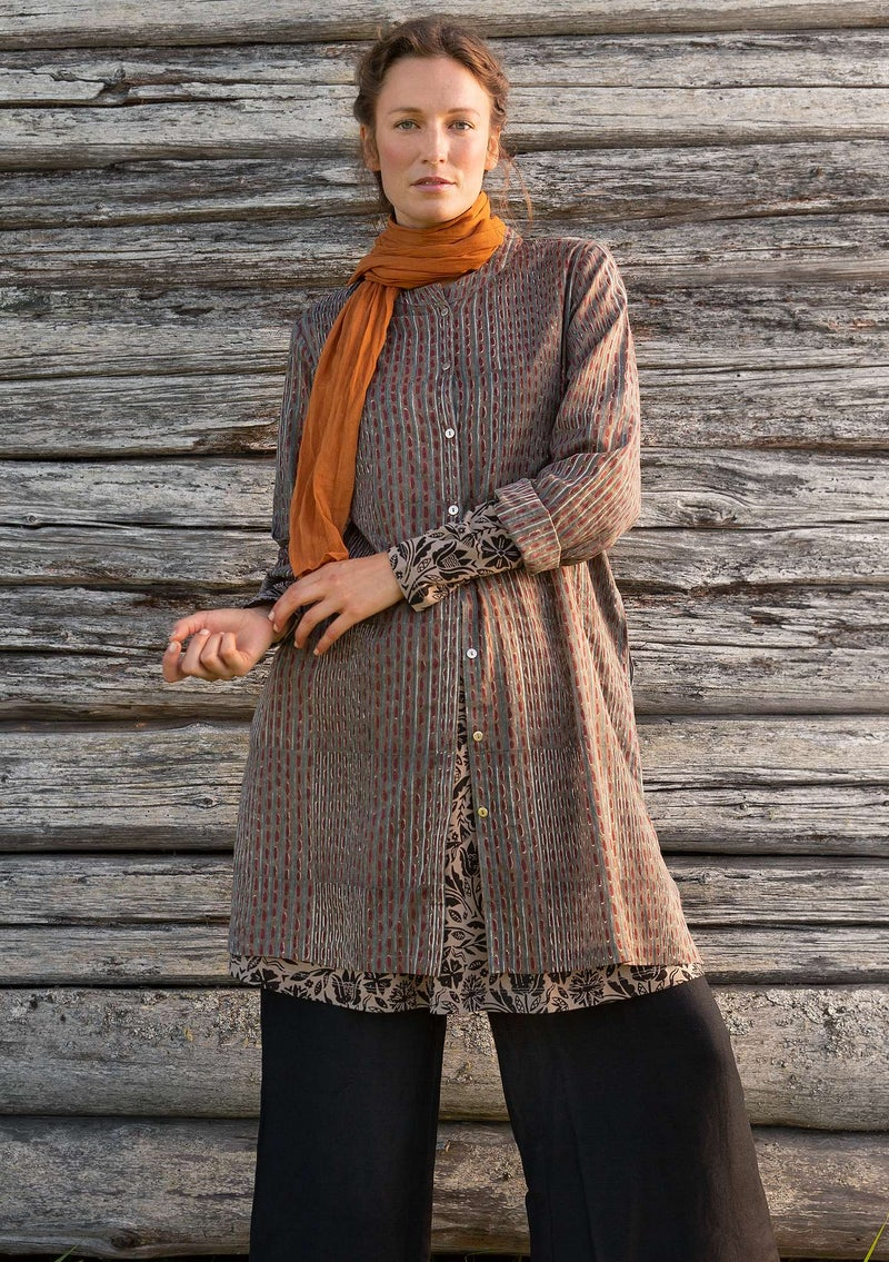 """Kurta"" long shirt in organic cotton clay"