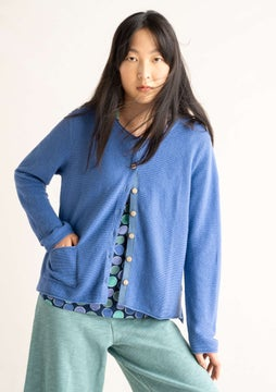 Cardigan in linen/cotton sky blue