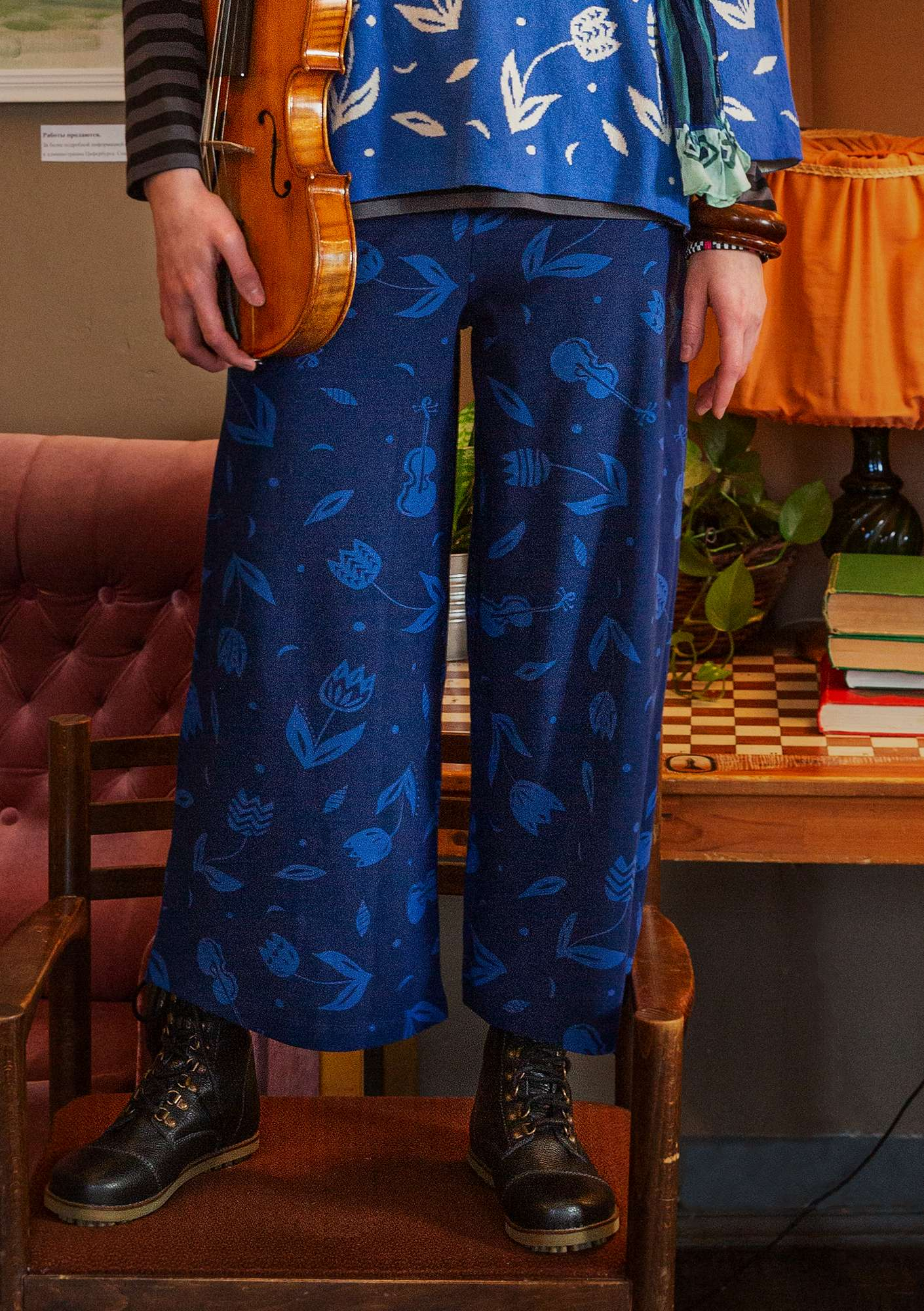 """Violin"" organic cotton/elastane trousers midnight blue"