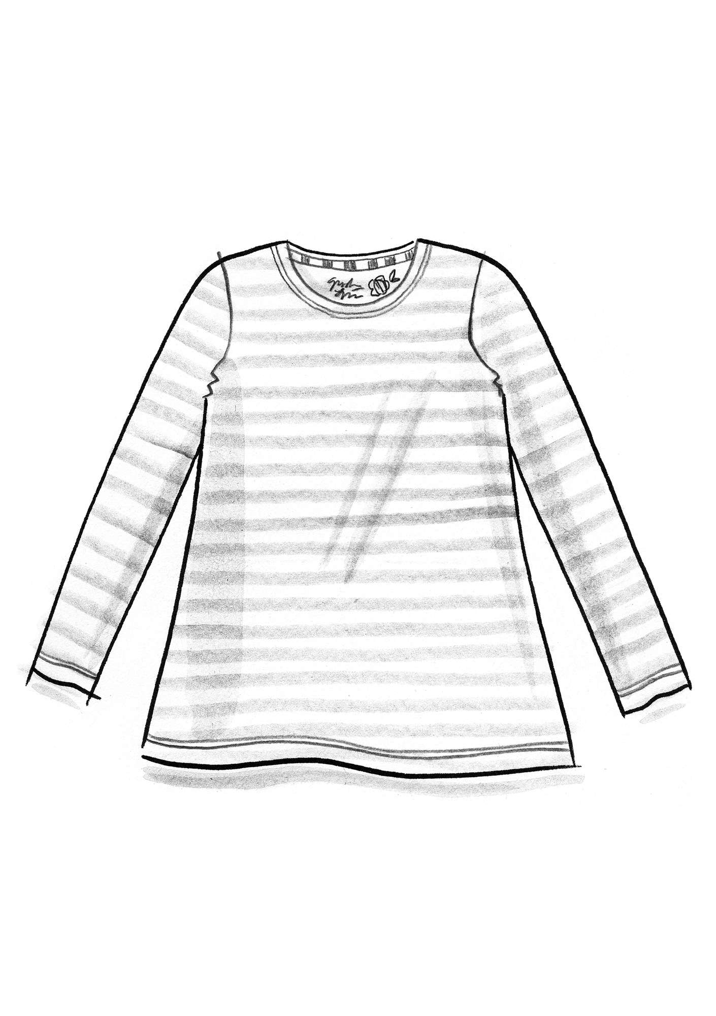 Long-sleeve top in modal/cotton/elastane heather/lake