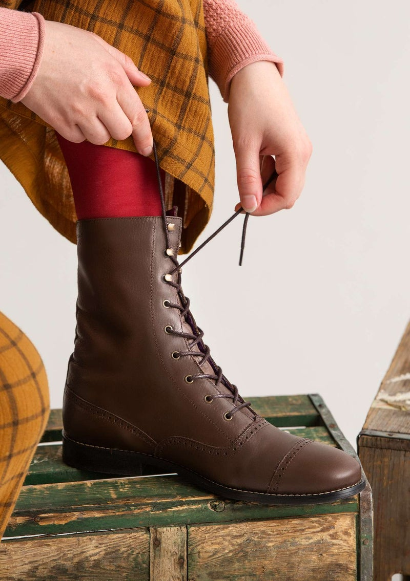 """Kristina"" lace-up nappa ankle boots chestnut"