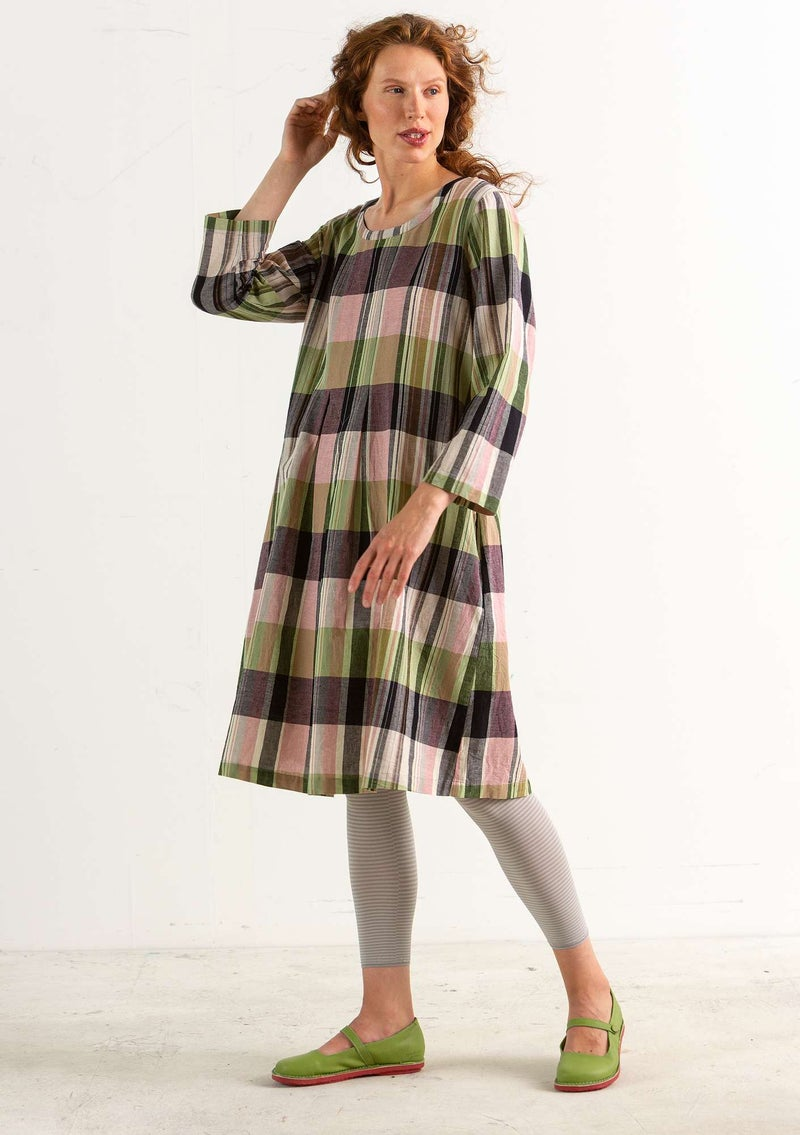 """Rut"" organic cotton/linen dress natural/patterned"