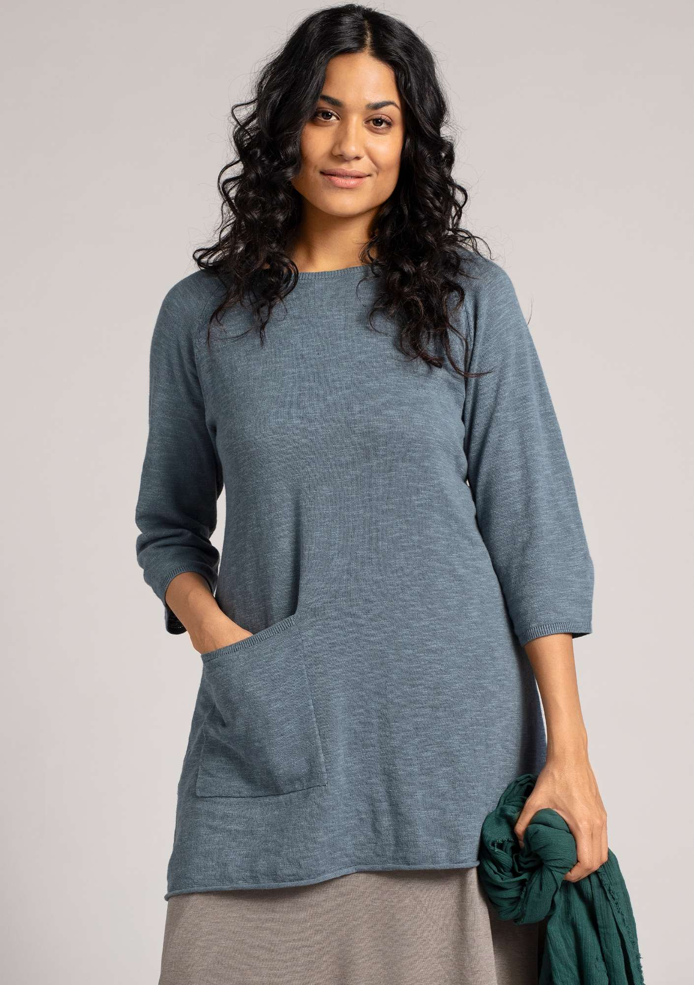 Tunic in organic cotton/linen agave