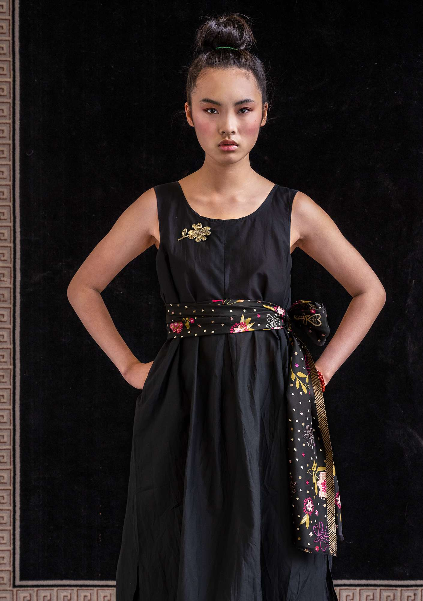 Cotton/silk dress black