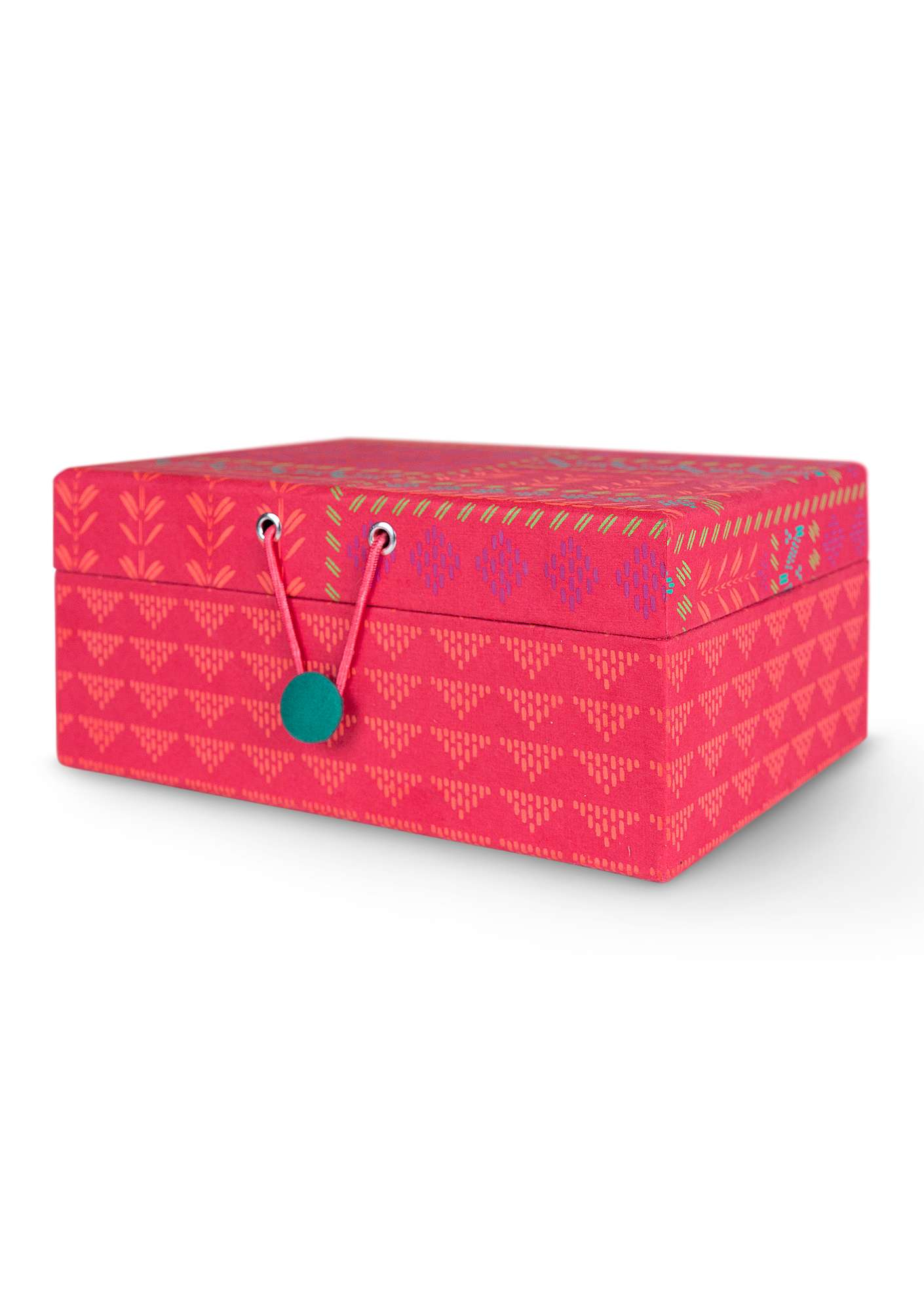 """Karolina"" jewelry box in recycled paper wild strawberry"