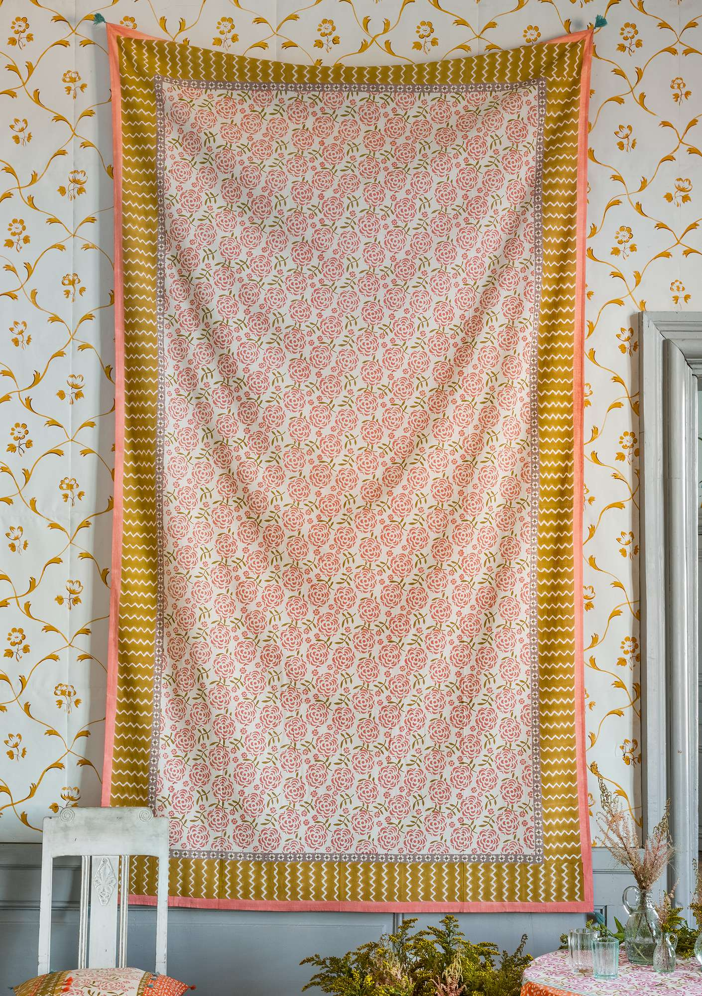 """Amita"" organic cotton throw ochre"