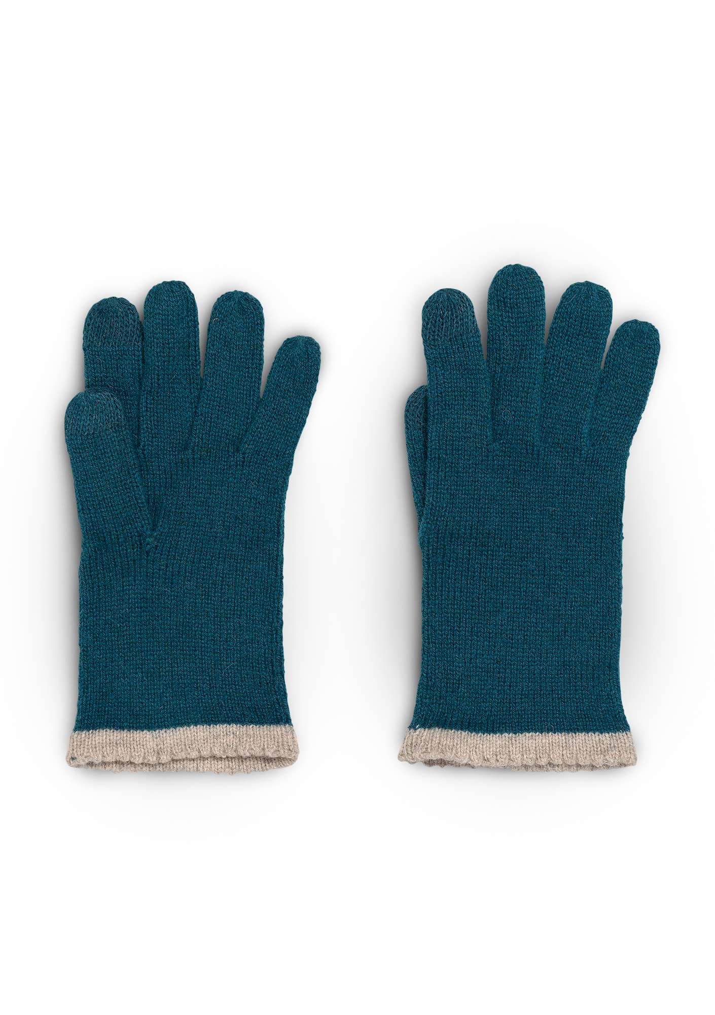 Alpaca blend gloves with touchscreen function petrol blue
