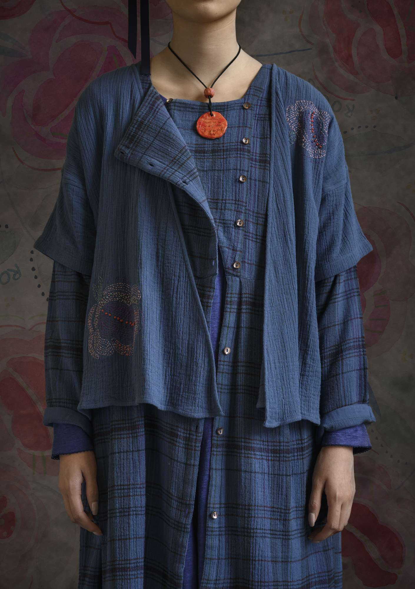 Double-weave blouse made of organic cotton flax blue
