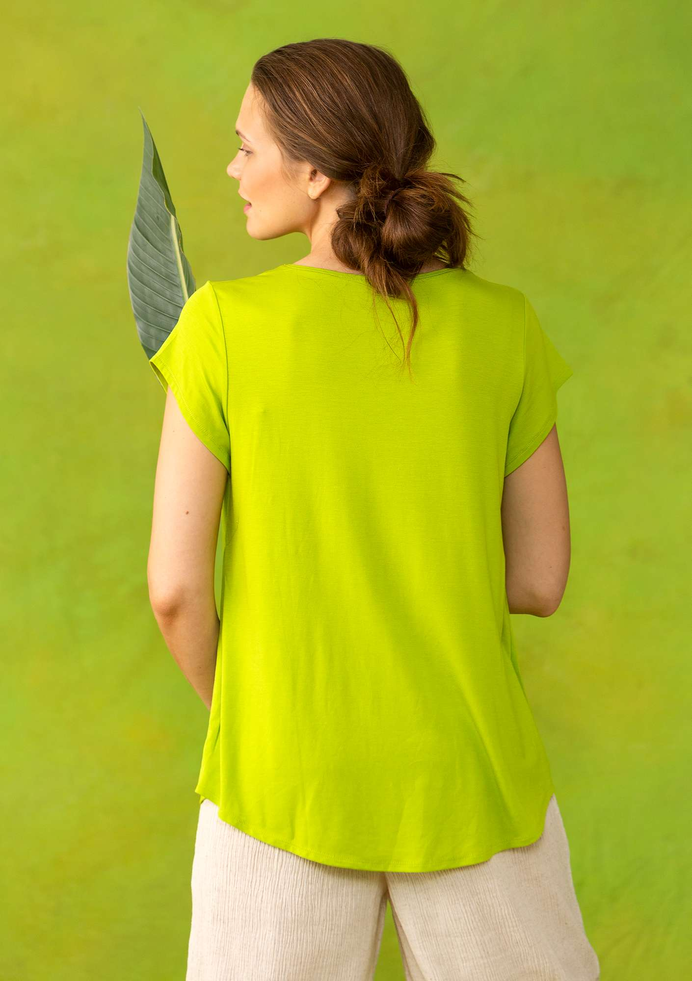 """Molly Dolly"" top in lyocell/spandex tropical green"