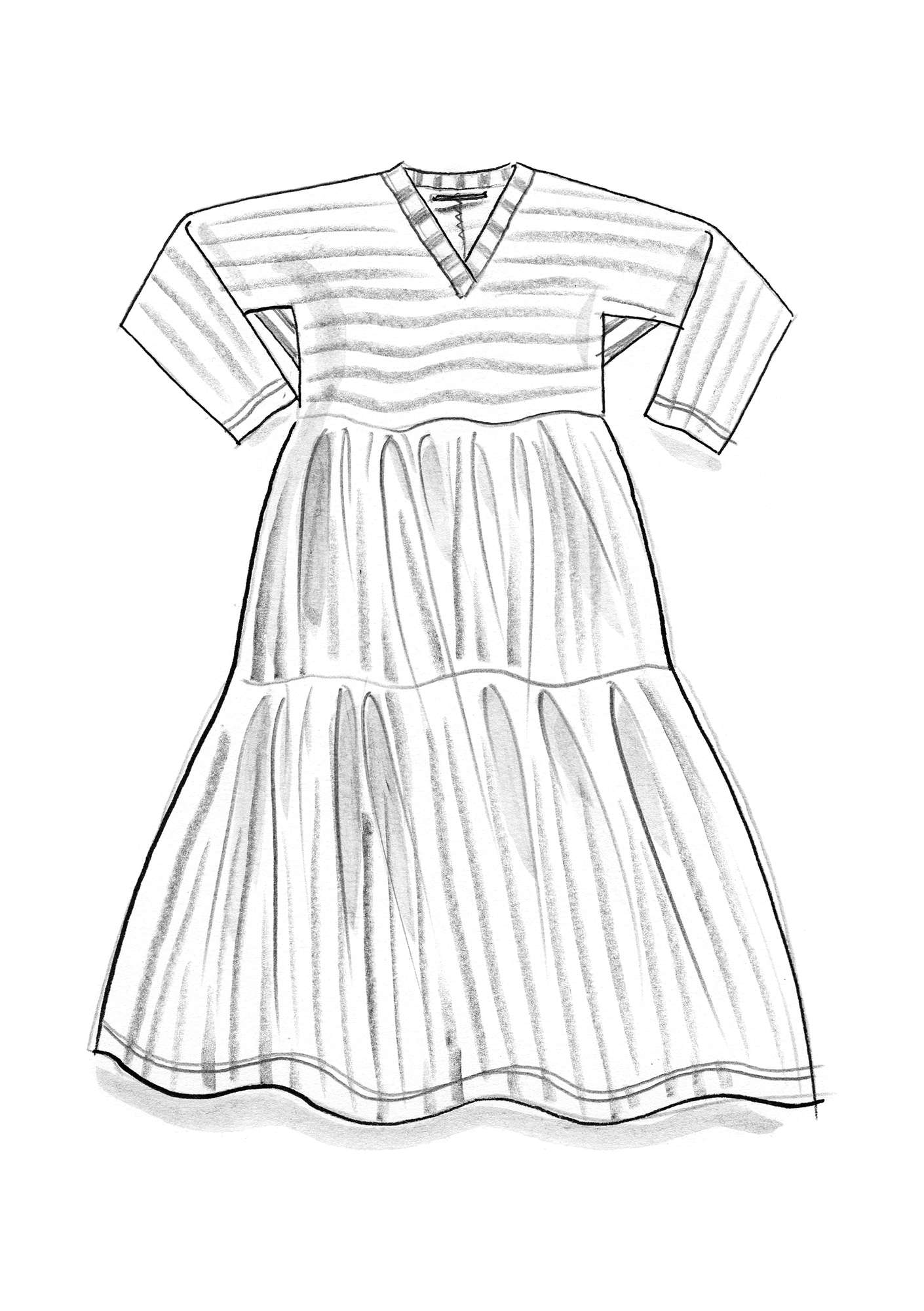 Striped dress in thin organic cotton hibiscus/unbleached