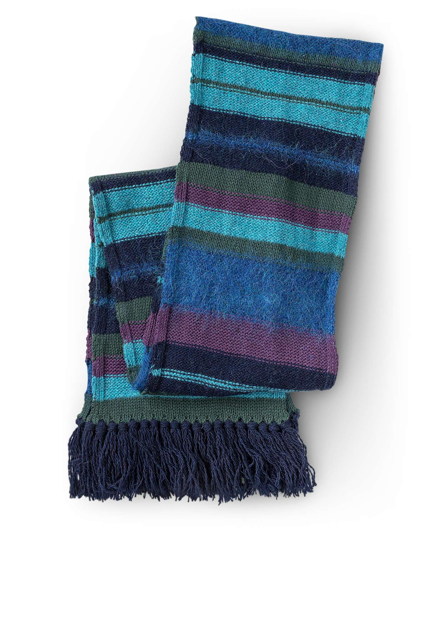 """Field"" scarf in recycled yarns indigo"