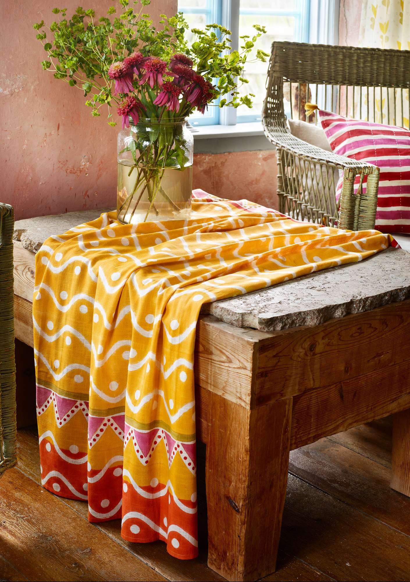 Blockdruck-Tischdecke Elder pineapple