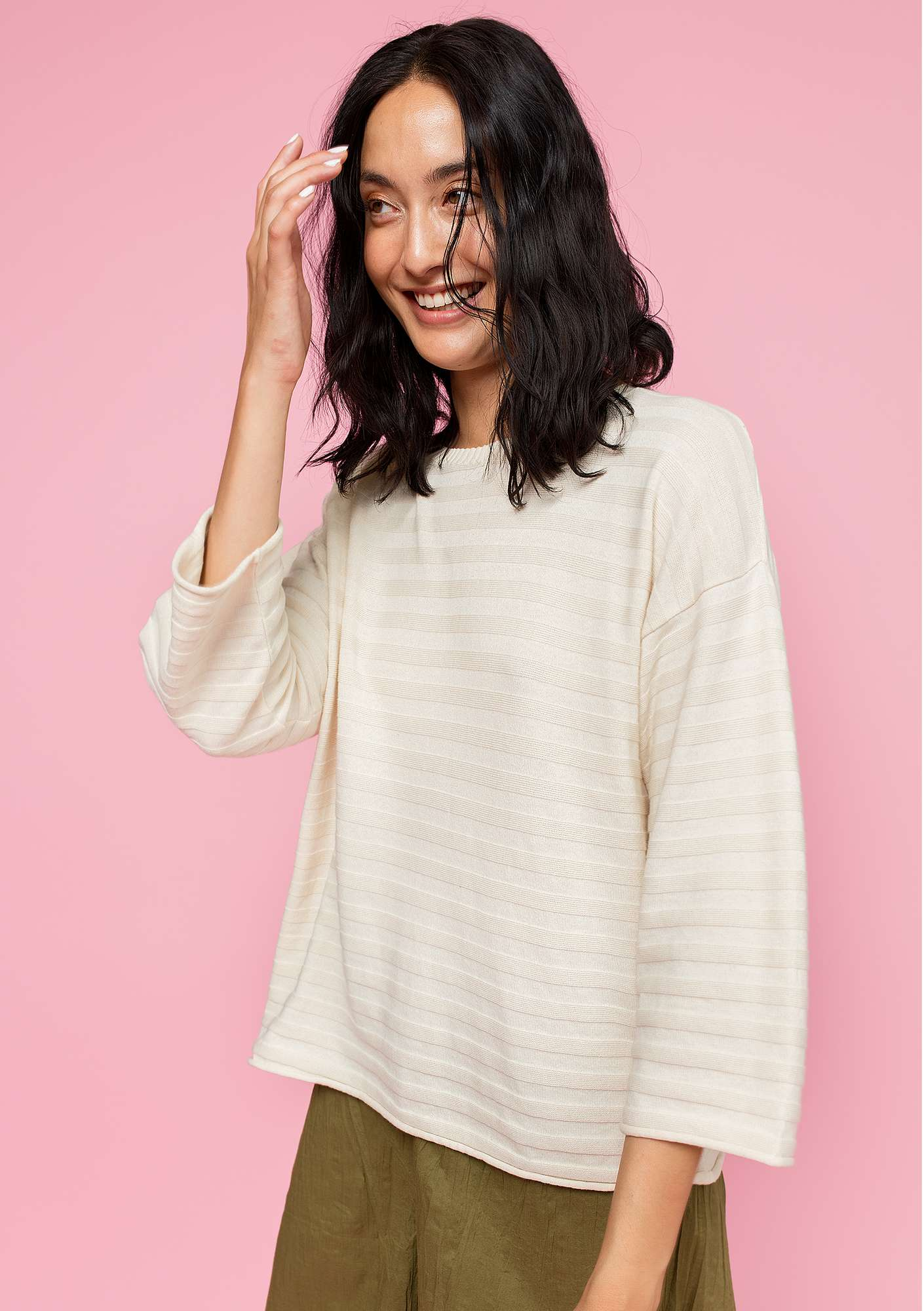 Sweater in organic cotton unbleached