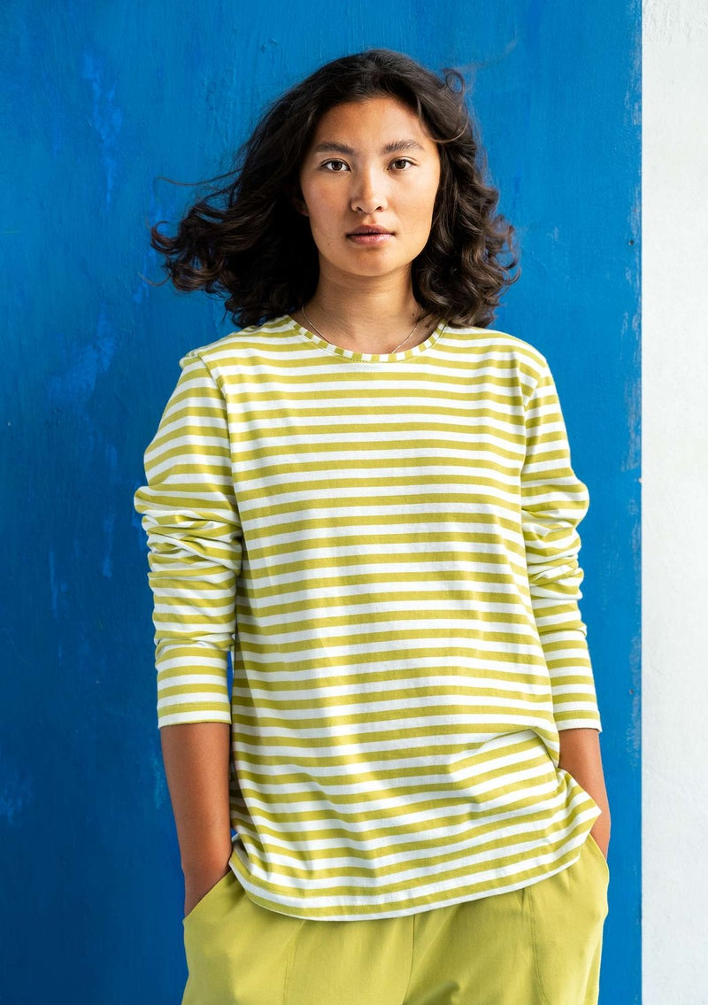 Essential striped sweater in organic cotton kiwi/unbleached