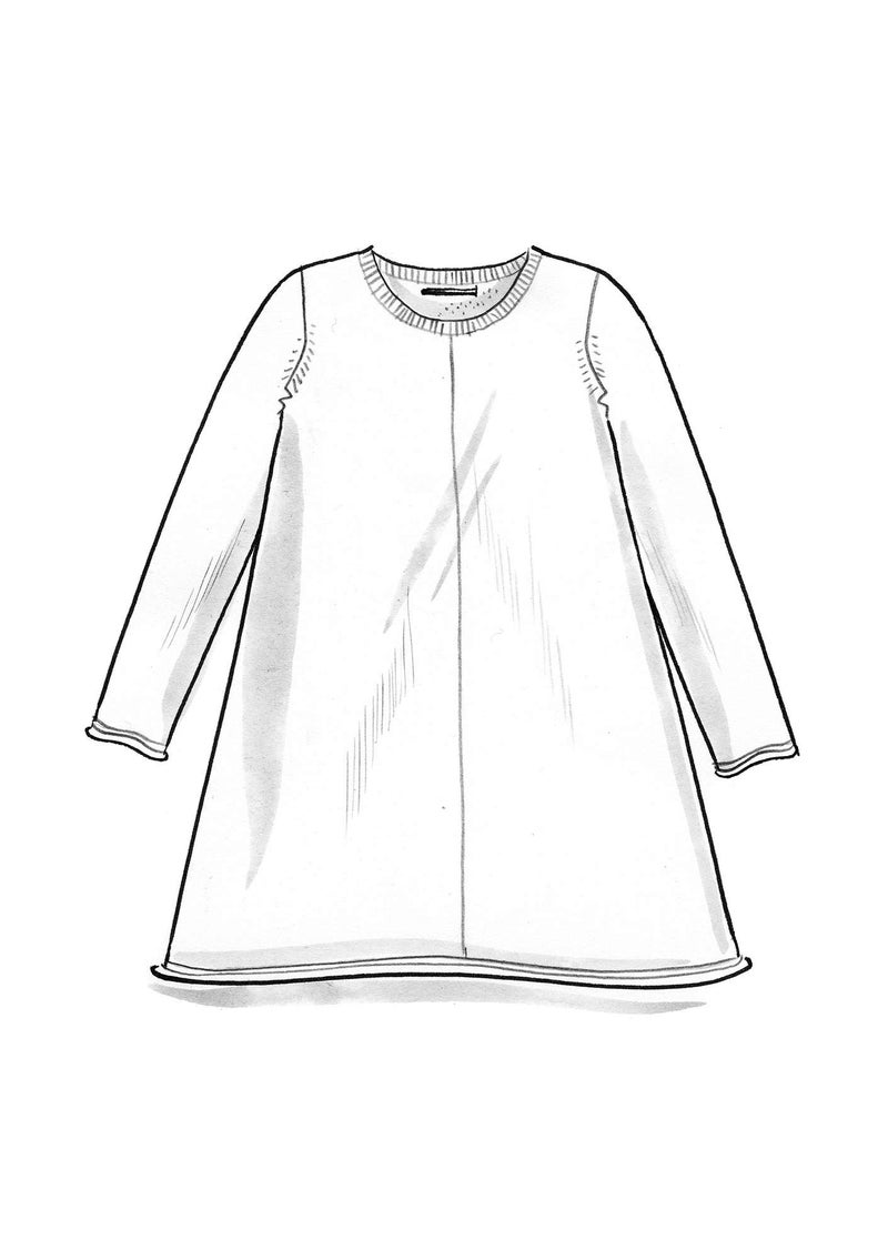 Knit tunic in plated silk/organic cotton undyed