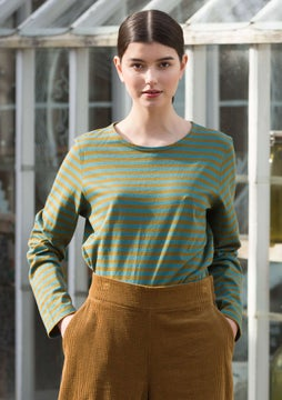 Top rayé dark olive/verona green