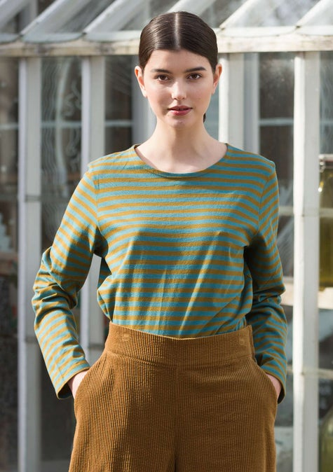 Striped top dark olive/verona green