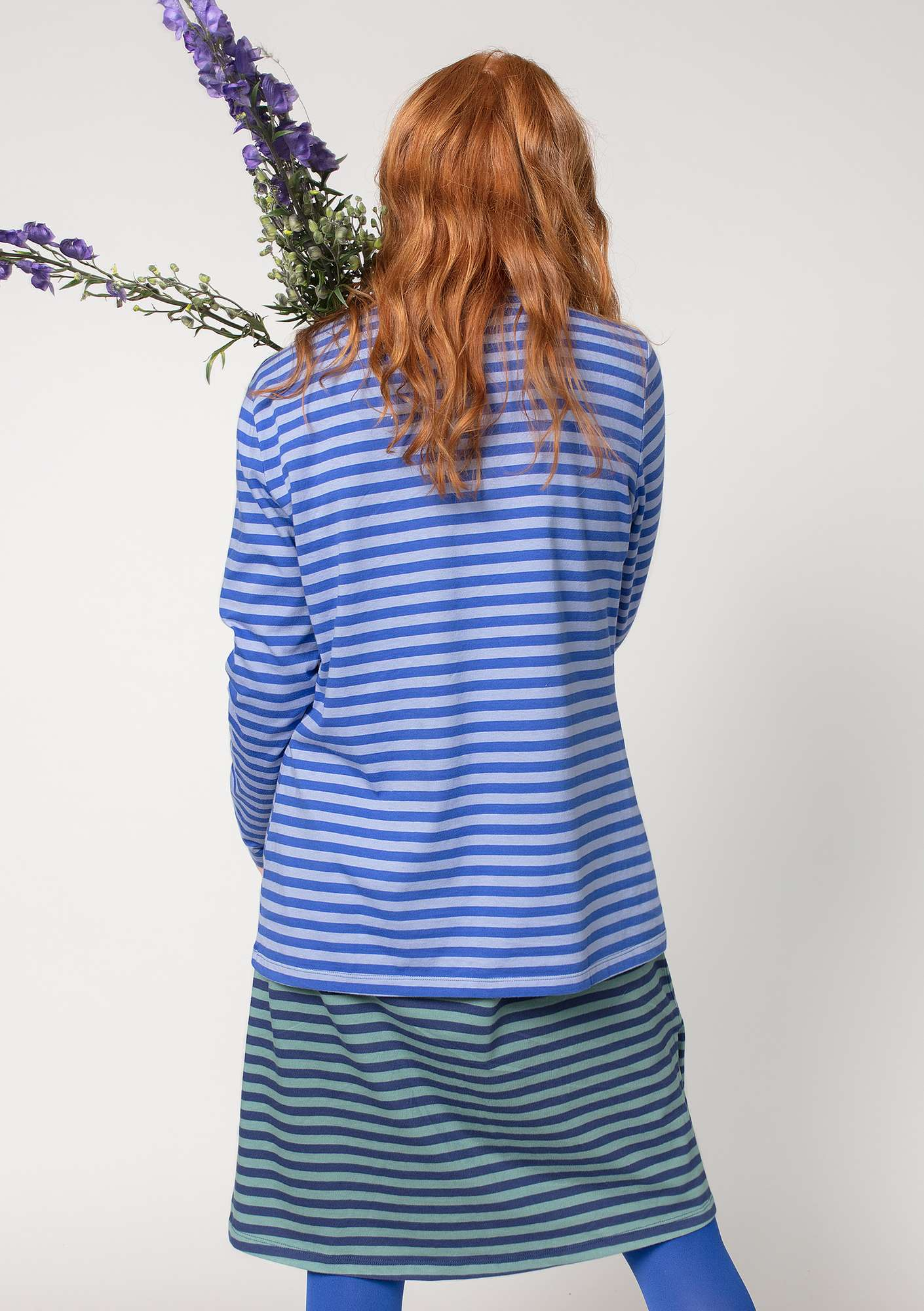 Striped top in organic cotton klein blue/lavender