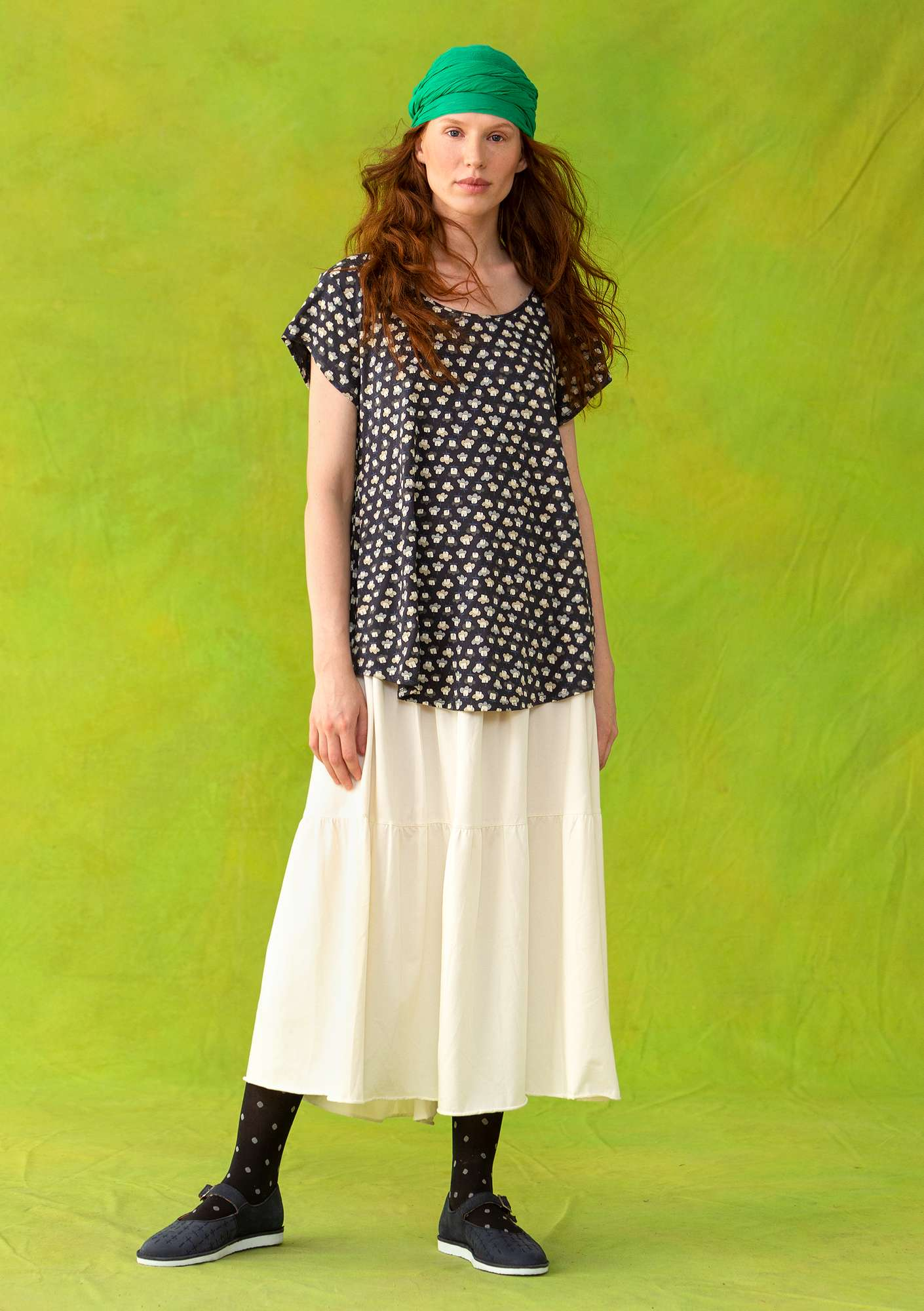 """Molly Dolly"" top in lyocell/elastane putty/patterned"