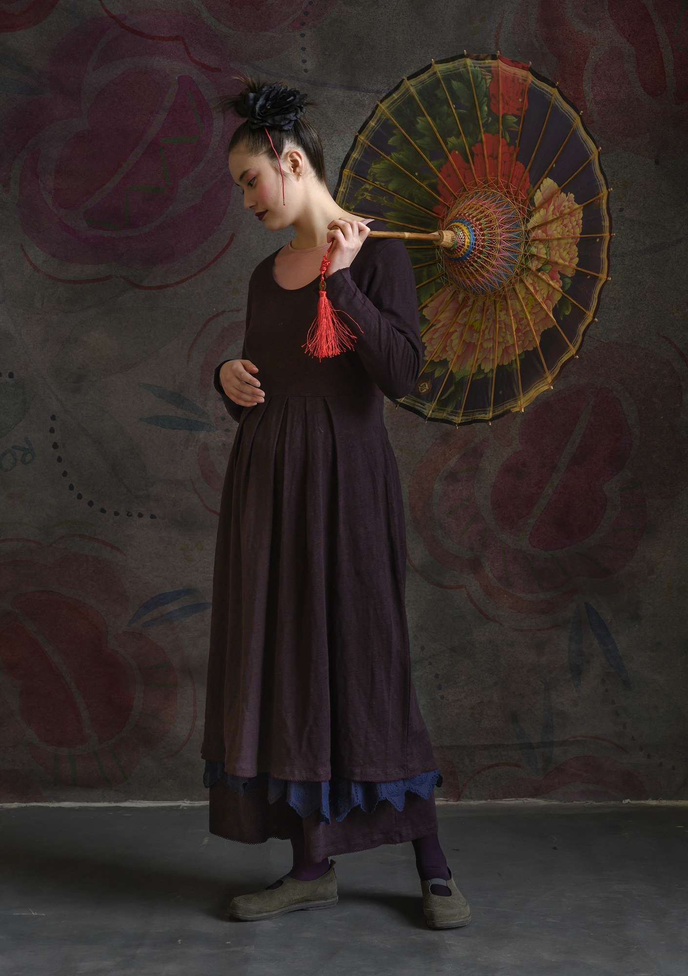 Linen dress dark aubergine