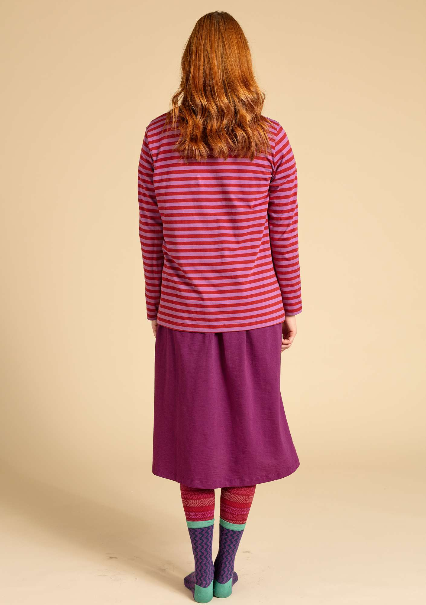 Basic striped shirt in organic cotton madder red/heather