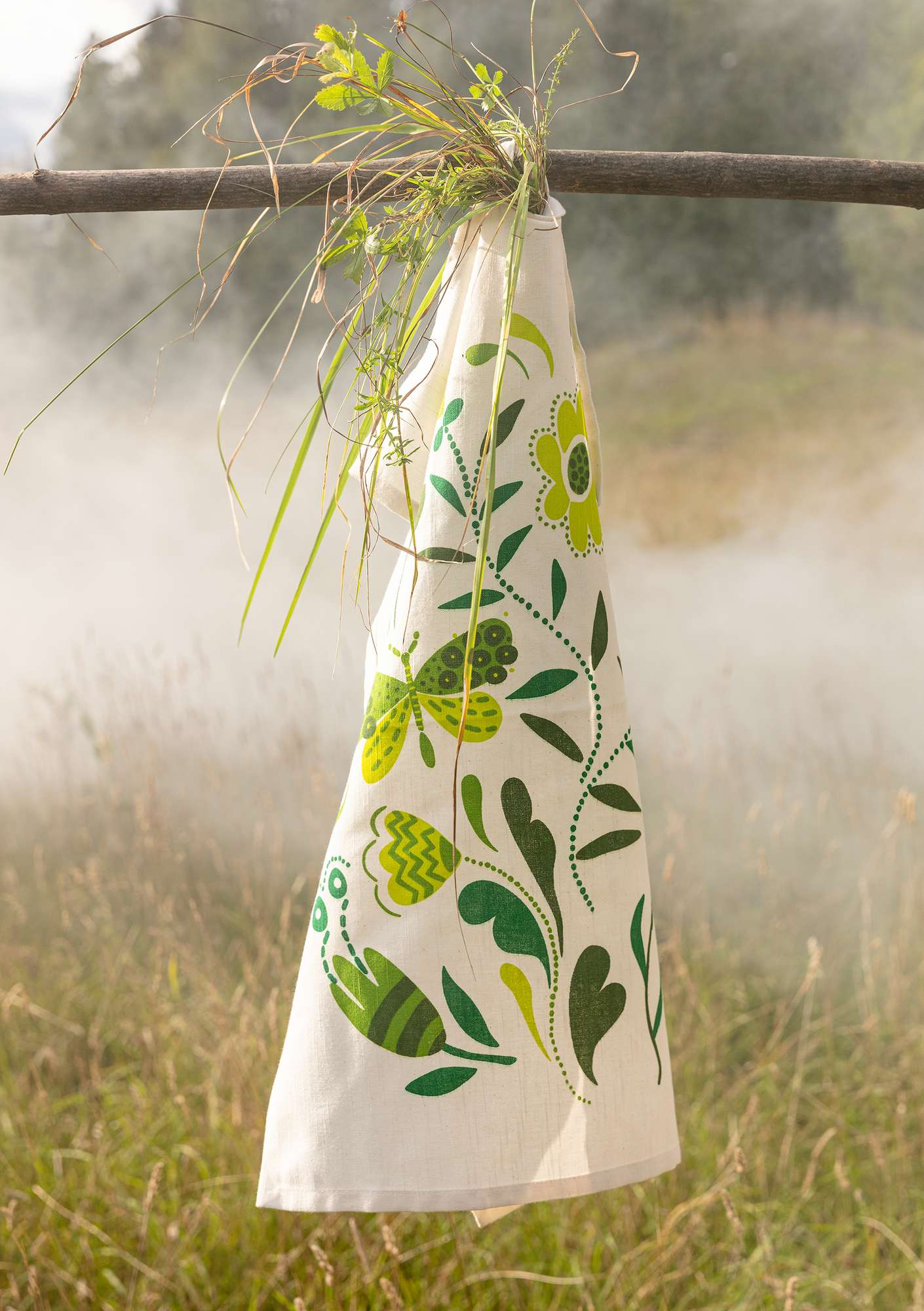 """Haga"" organic cotton tea towel dark emerald"