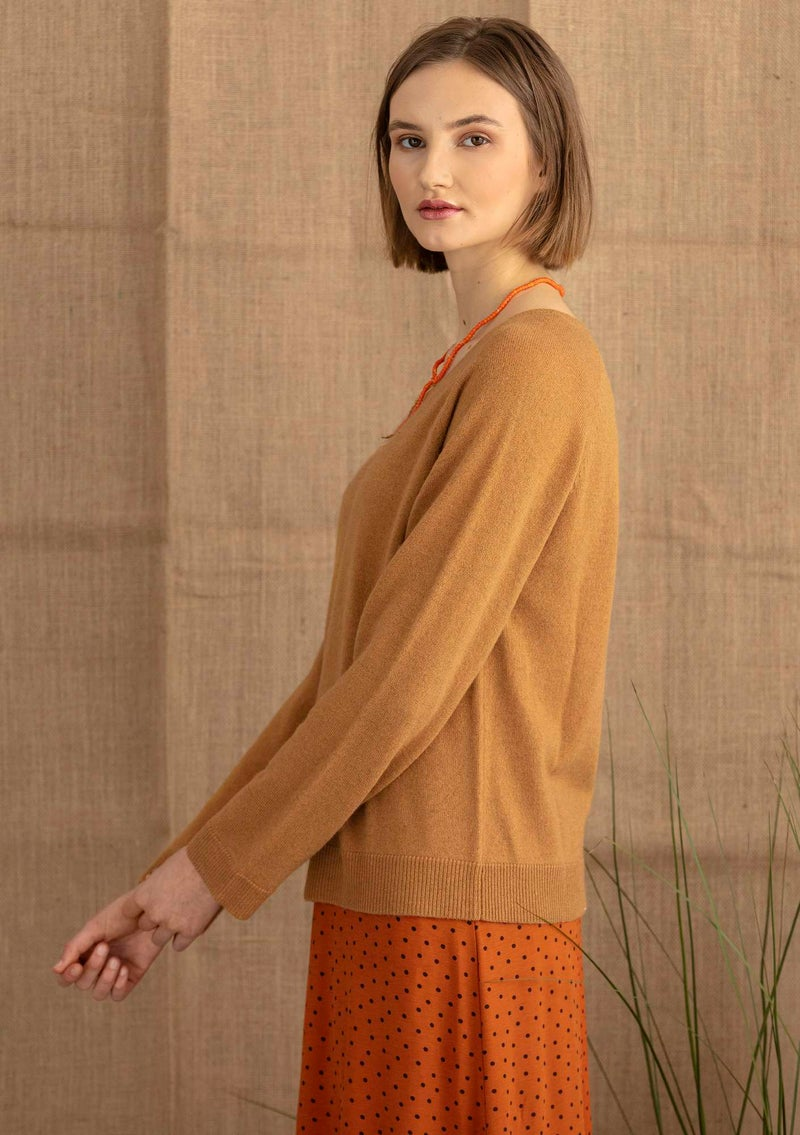 Cashmere sweater ochre/solid colour