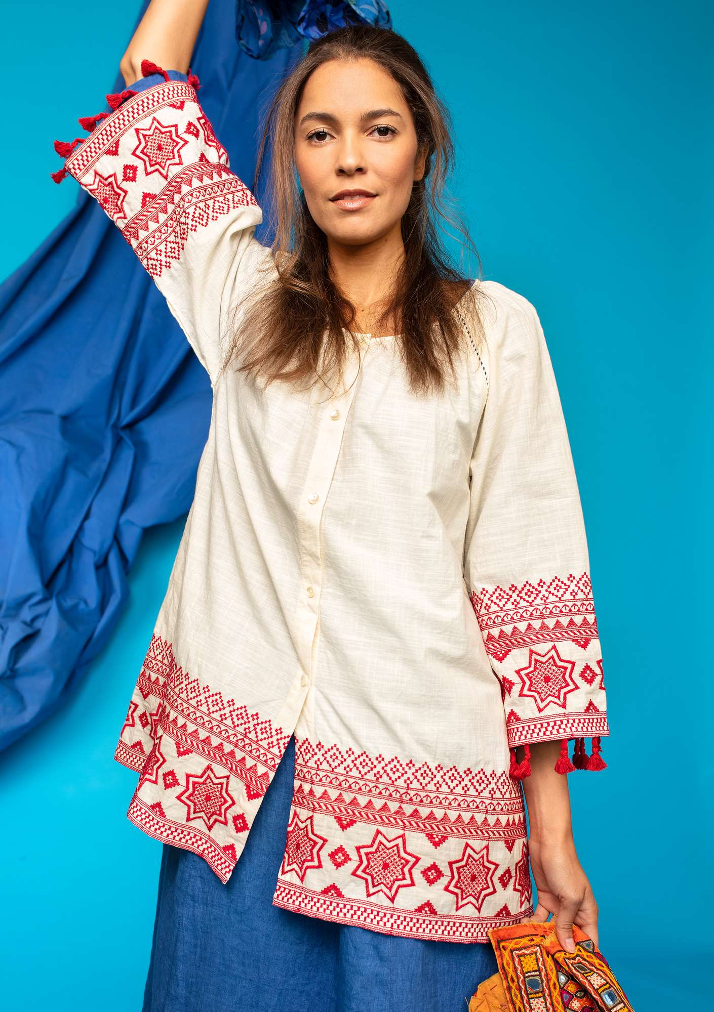 "Embroidered organic cotton ""Savann"" tunic offwhite"
