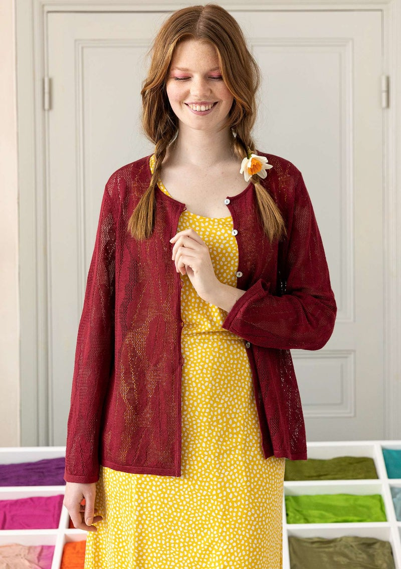 """Leaf"" pointelle cardigan in organic linen cranberry"