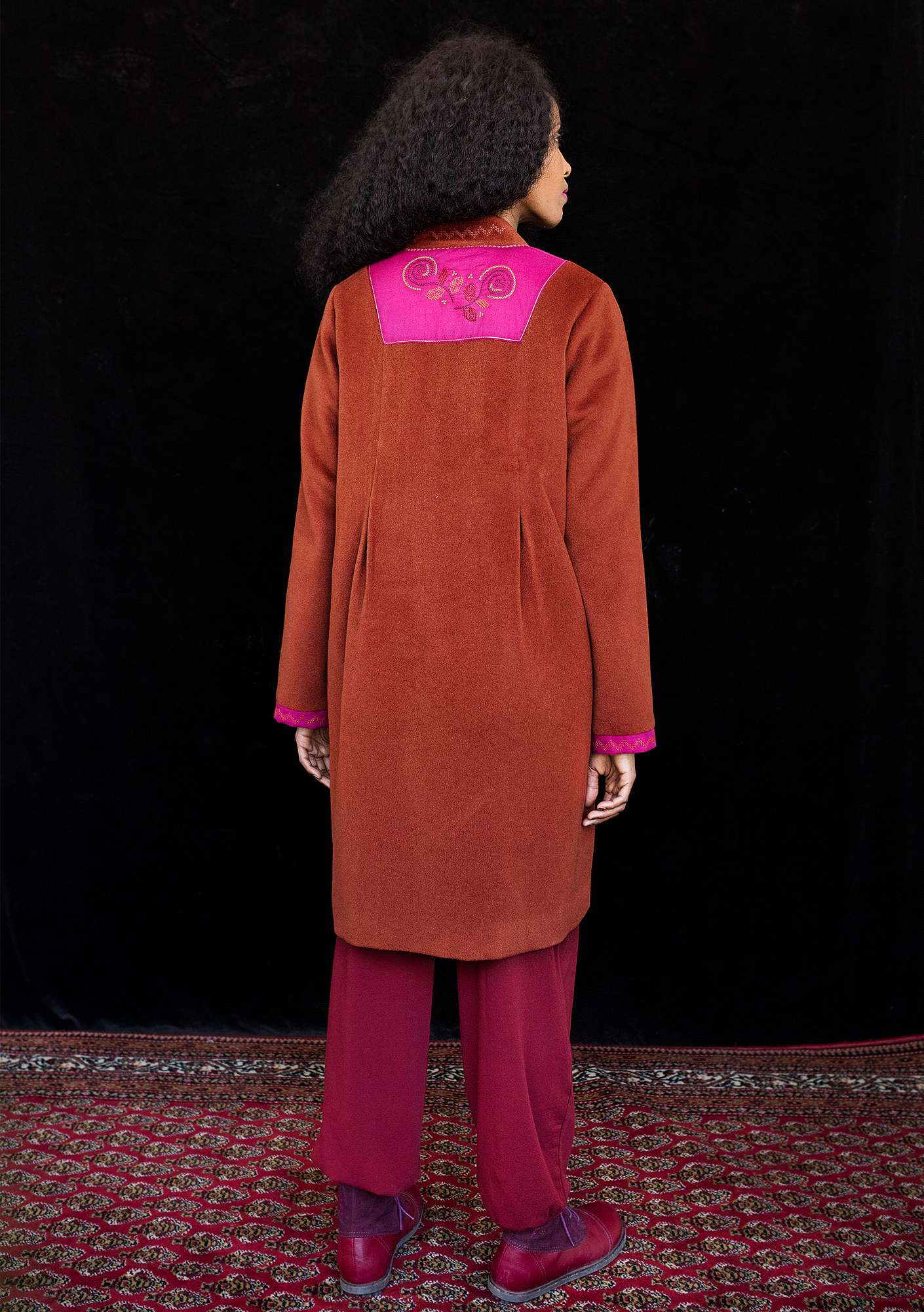 """Berlin"" wool coat rust red"