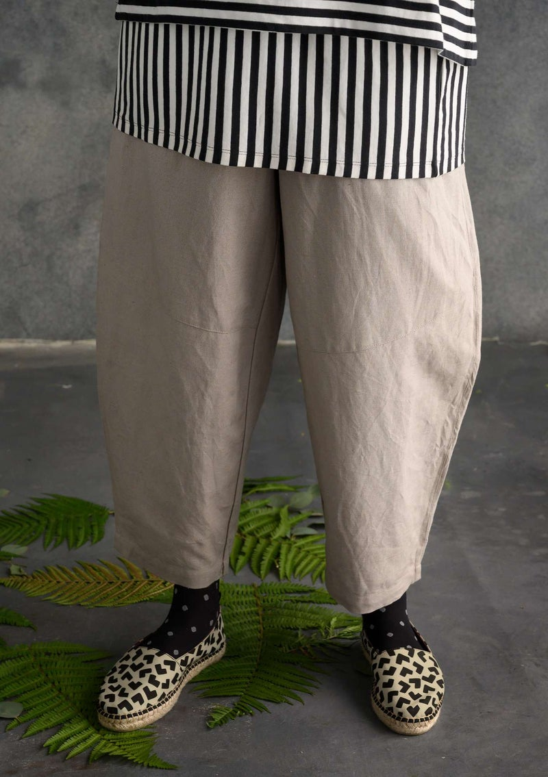 Trousers in organic cotton/linen dark natural