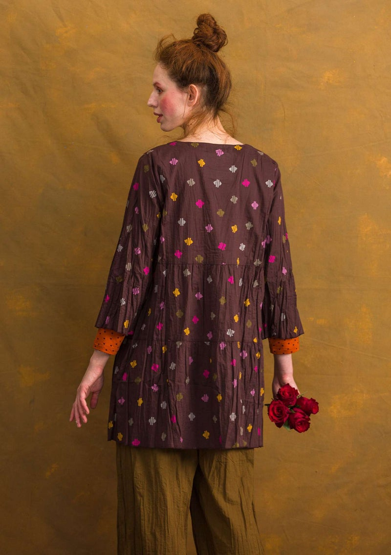 """Pimpinella"" blouse in organic cotton mulberry/patterned"