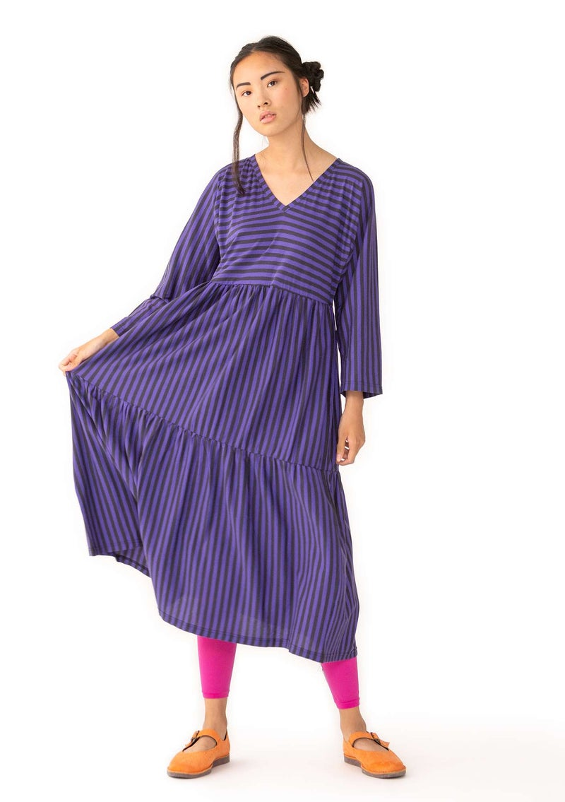Striped dress in thin organic cotton ink blue/amethyst