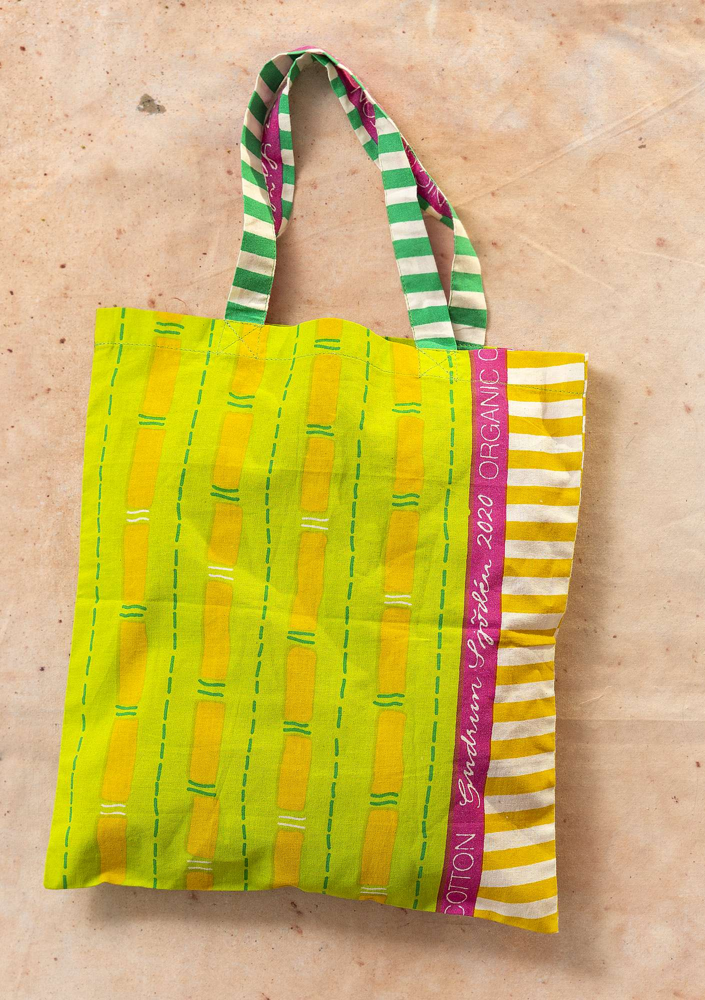 Fabric tote bag S pea green