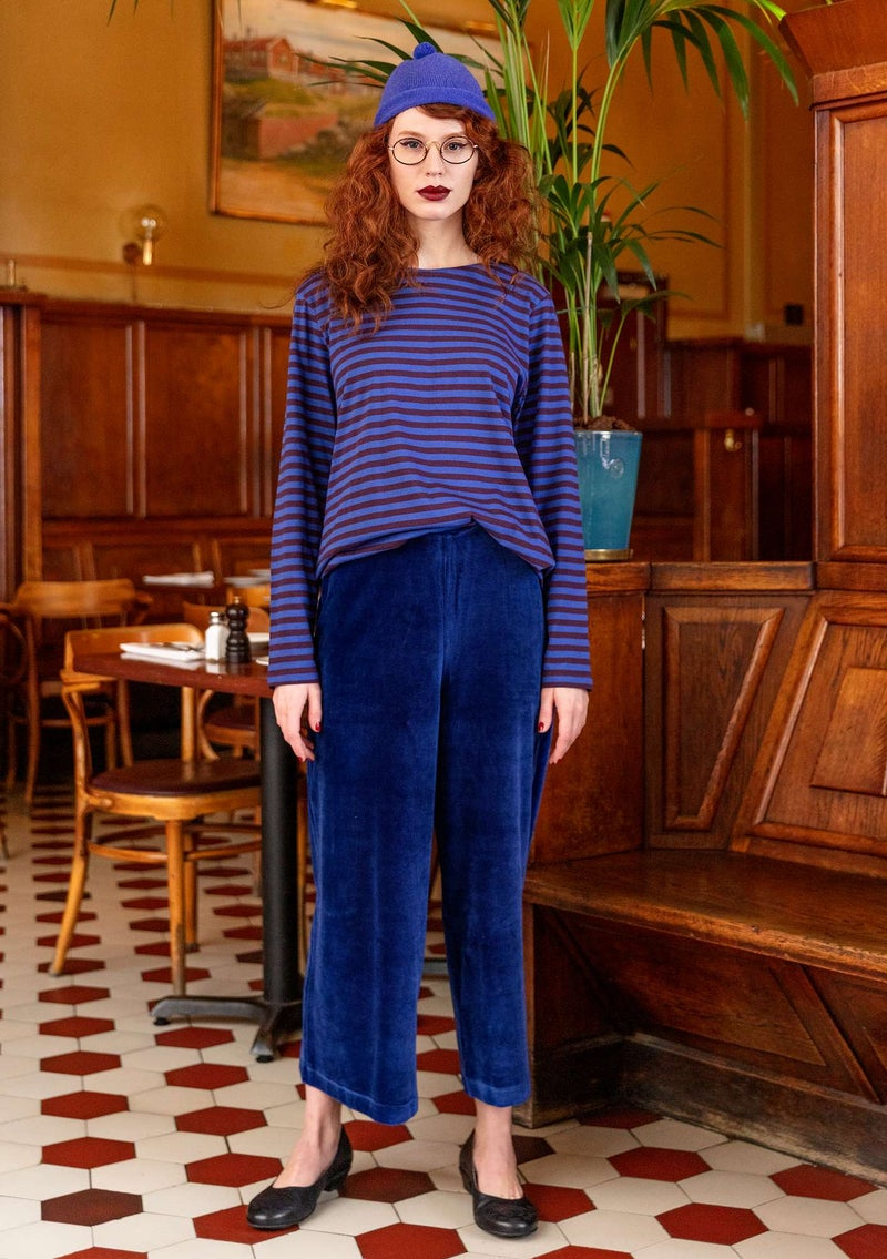 Velour trousers in organic cotton/recycled polyester midnight blue