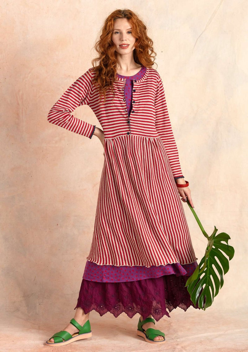 Striped knit dress in organic linen tomato