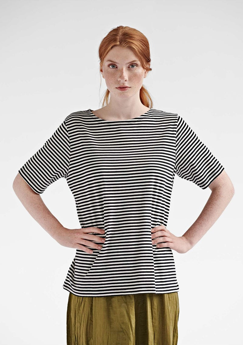 Block-striped T-shirt in organic cotton black/ecru