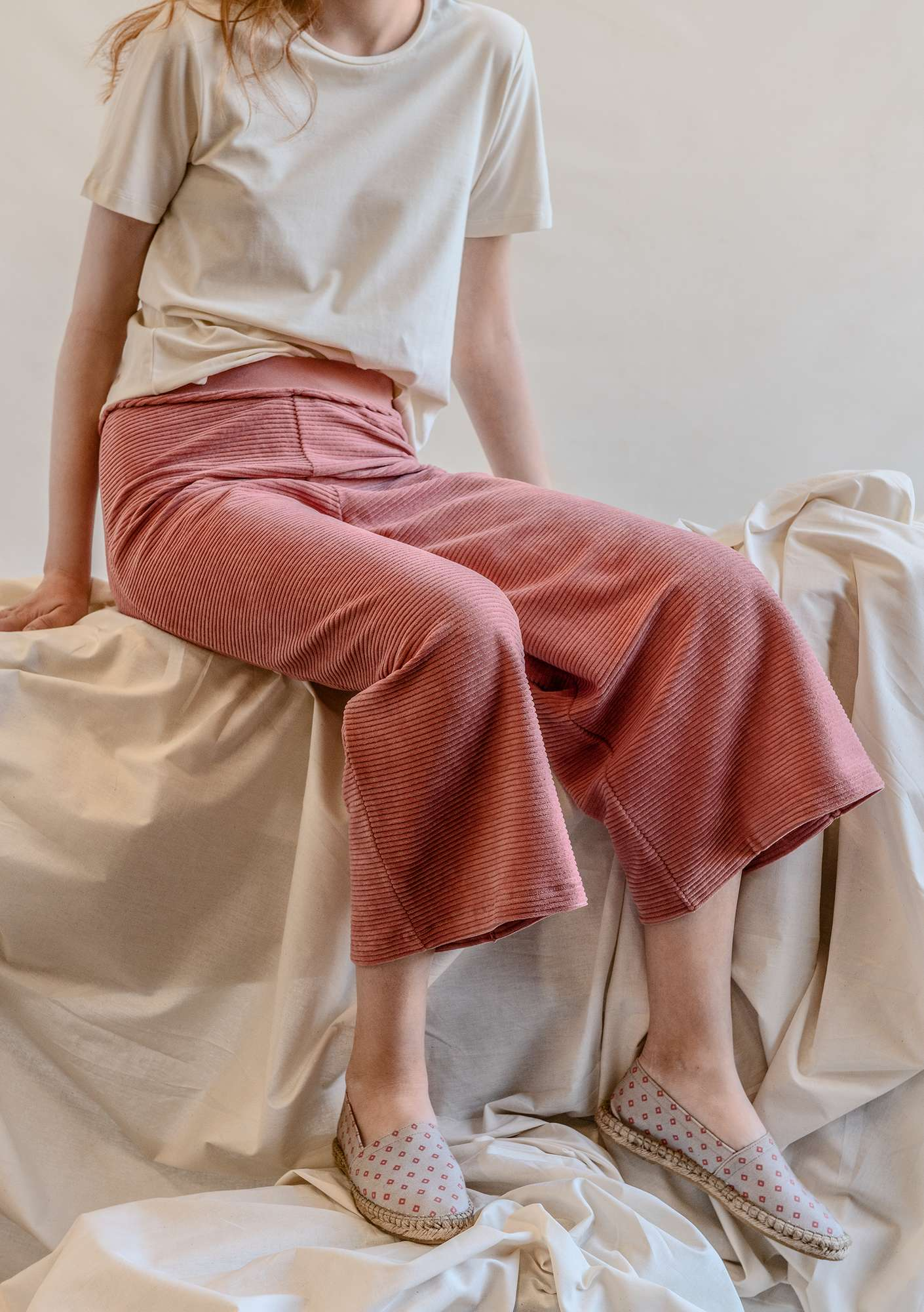Jersey pants in corduroy velour lily