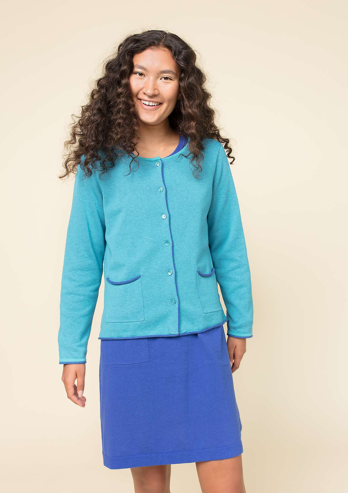 Plated cardigan in organic cotton turquoise