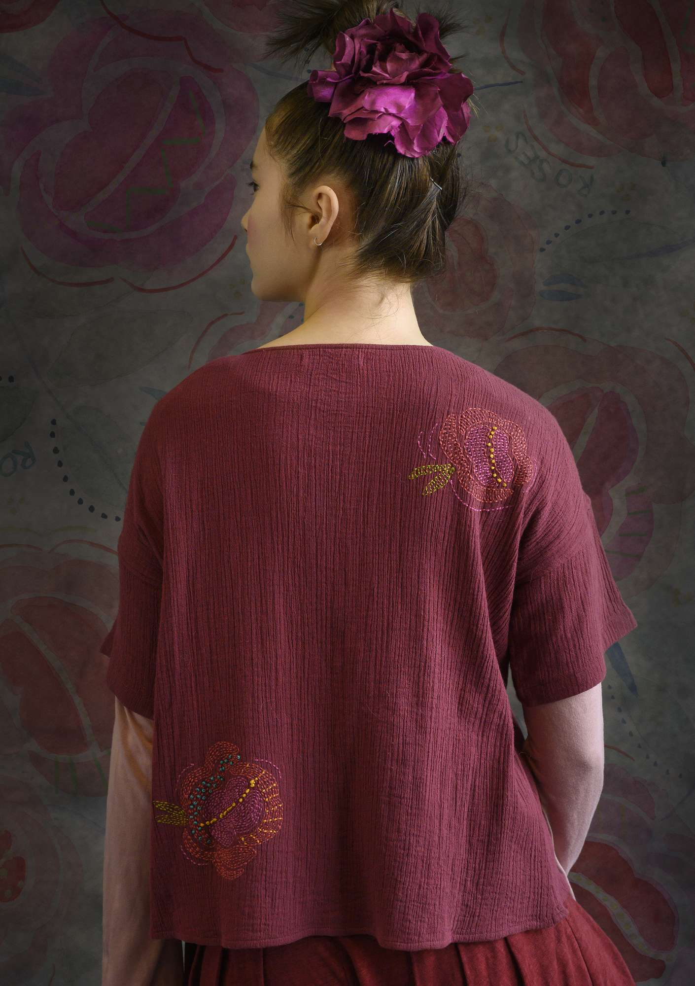 Double-weave blouse made of organic cotton cranberry