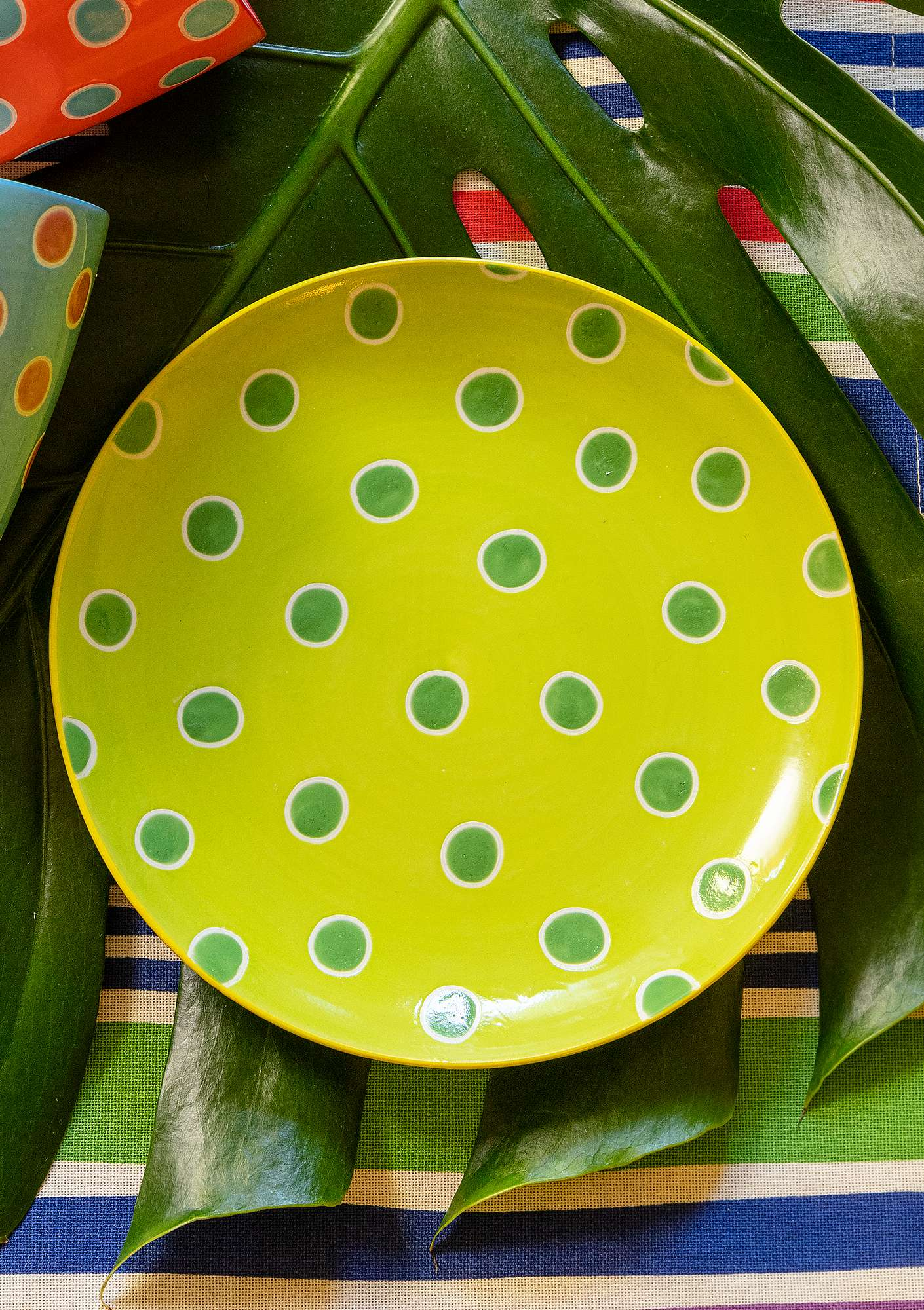 """Prillig"" ceramic plate tropical green"