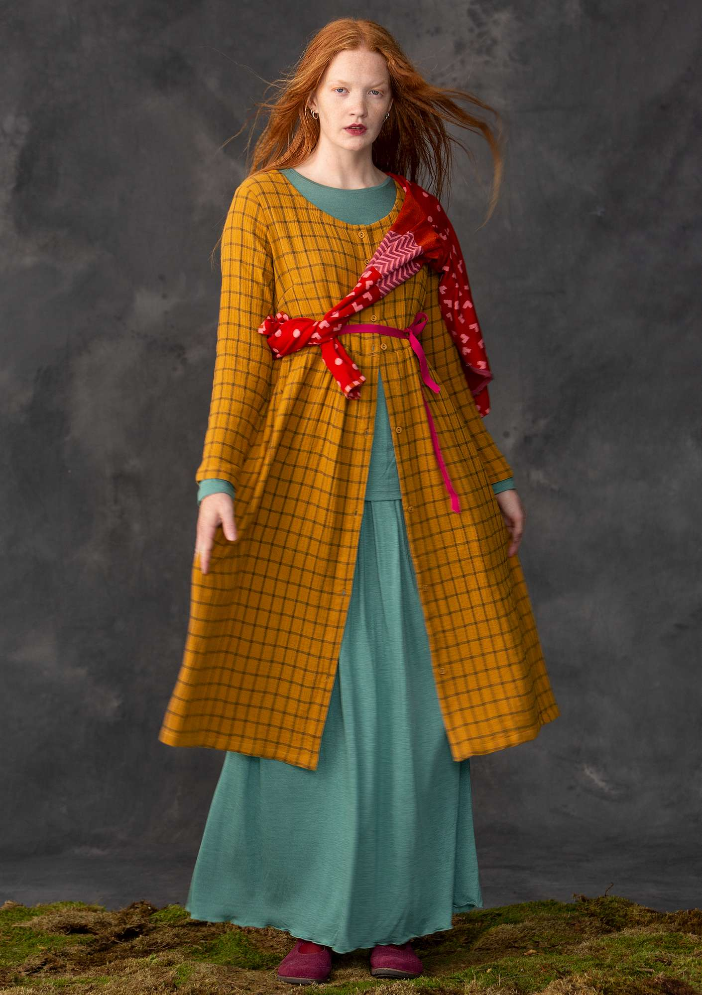 Dress in organic cotton mustard