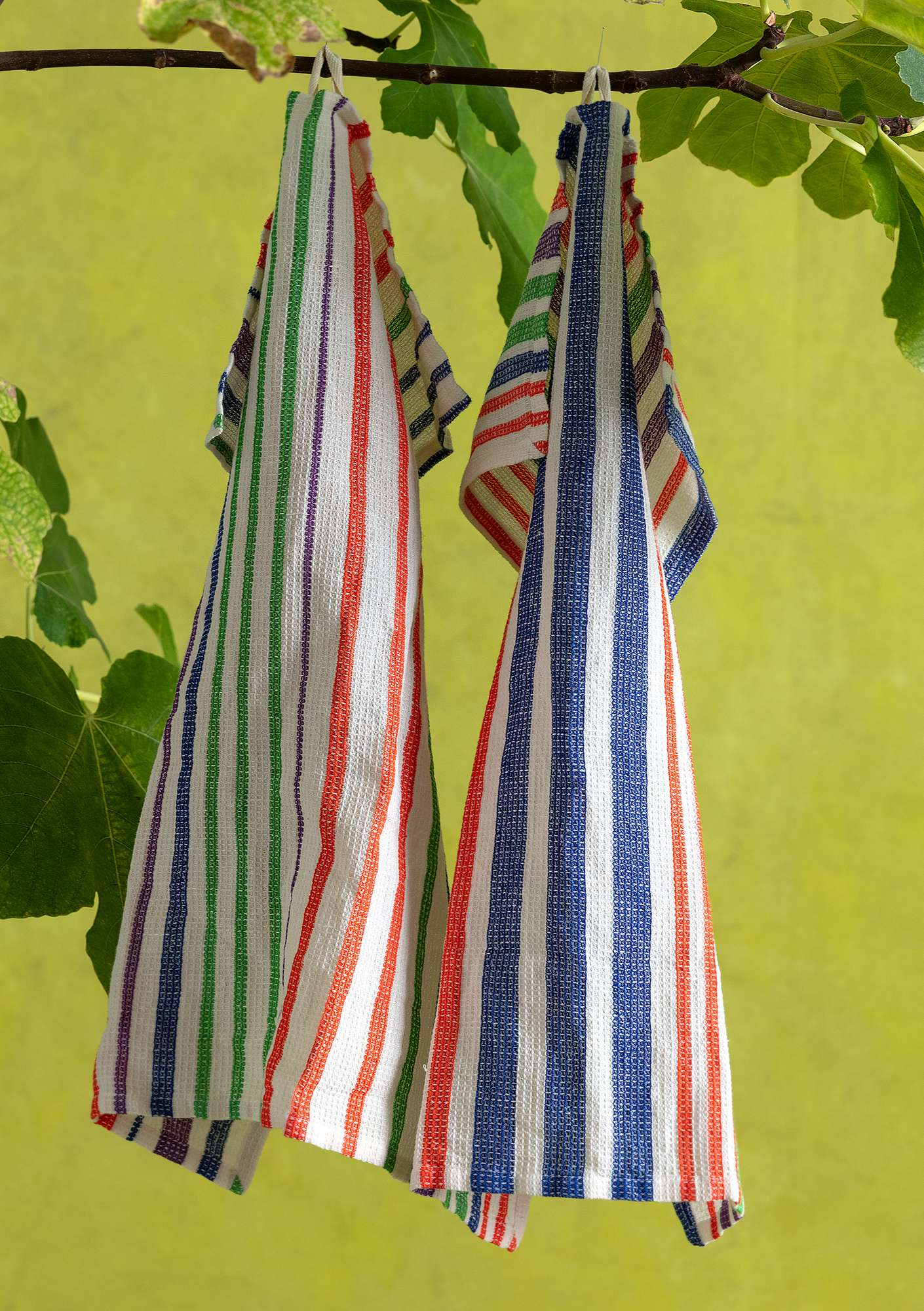 Striped Cotton & Linen Blend Kitchen Towel multi-color