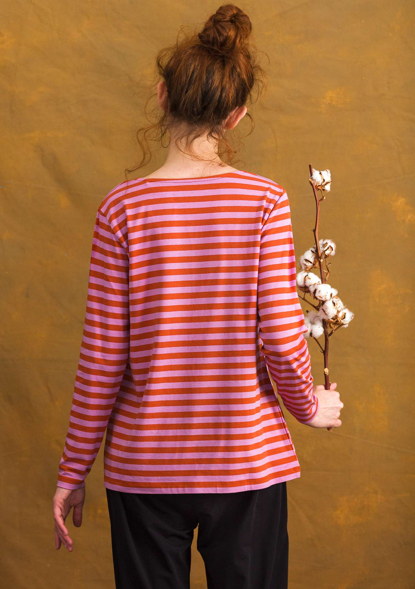 Long-sleeve top in modal/cotton/spandex henna/pink lupine